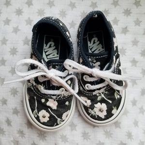 Black Floral Toddler Vans Sneakers size 4.5